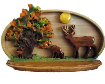 Deer-deer family-autumn scene-buck-fawn-hunter-wildlife enthusiast-wooden-scroll sawed-handmade- handpainted