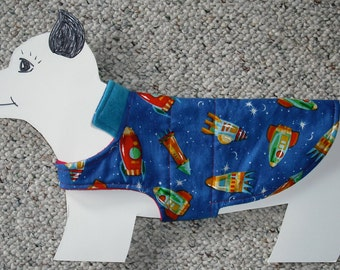 """Rocket Red reversible Fleece Dog Coat size x-small (7-10 lbs. girth 15"""") with space ship lining. Cozy, Warm and Cute."""