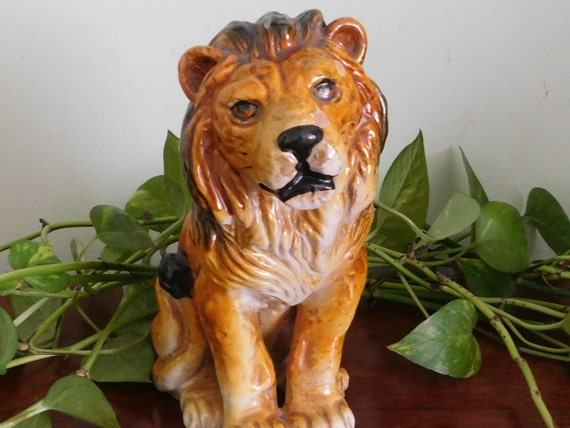 Italian English Animsld: Majolica Lion Figurine Statue Animal Figure Italian Ceramic