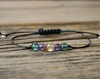 Manifestation, Citrine, Amethyst, Apatite, Crystal Healing, Yoga Bracelet, Meditation Bracelet, Chakra Bracelet, Depression, Protection