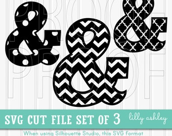 SVG File Set of 3 Ampersands-- Chevron SVG ampersand and sign Dots and Quatrefoil.  And Sign svg file cut files