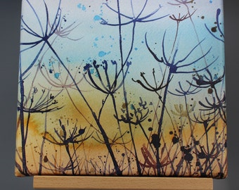 Canvas print of Cowparsley, hedgerow print on canvas, seed heads, watercolour print