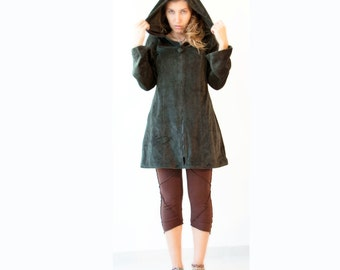 Long Pixie Hoodie with Lining - Cotton Velvet  - Psy Jacket - Tribal - Goth -Coat - Double layer-Dark green