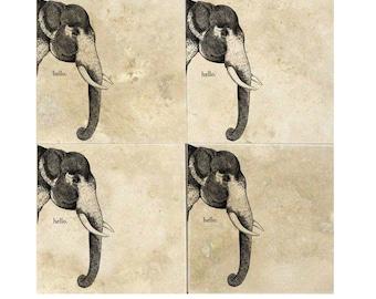 Hello Elephant Coasters (Pair of 2 Available) Drink Coasters, Elephants, Gift Ideas, Animals