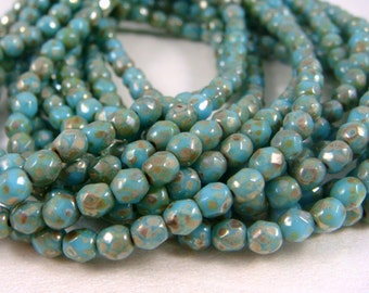 Czech Beads, 3mm Czech Glass Fire Polished Beads, Picasso Beads - Turquoise Glass Beads with Picasso (FP3/N-092) - Qty 50