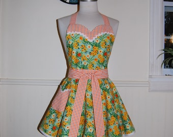 Floral and Gingham Orange and Green Retro Circle Skirt Apron with Sweetheart Bodice and Pocket