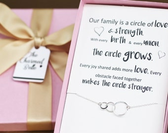 Necklace, jewelry, circle, linked rings, circle necklace, new mom, sister in law, wedding, gift, enagement gift, bridal shower, family, FAM3