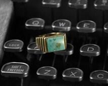 Yellow Gold Unisex Blue Turquoise Ring >>> Vintage Blue Turquoise Square Ring, Men's Turquoise Ring, Ladies Turquoise Ring