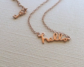 Hello Necklace in Sterling Silver (18K Rose Gold Plating)