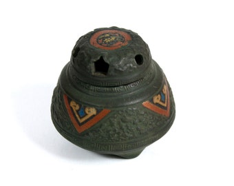 Beautiful Small Antique Ceramic Incense Burner- Pre-war- Made in Japan