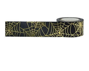 "Gold Foil ""Spider Web"" Halloween Washi Tape - wide 25mm x 10m - Striking Gold on Black"