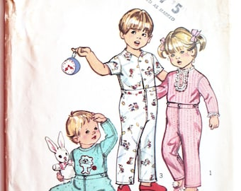Toddlers Pajamas Sewing Pattern- Vintage 1970s  with Lion Transfer Size 4 Simplicity 5051