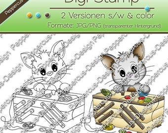 Digi stamp set - cat with sewing box
