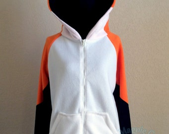 Orange Fox Fleece Hoodie w/White - Adult sizes S-3XL