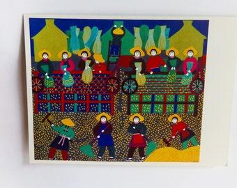 Vintage Jinshan Peasant Art Print Notecard, Chinese Farmers Folk Art Card, Grain Harvest by Cao Jinying, 1980s Chinese Folk Art Print