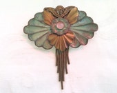 Cherub Moonstone Brooch Vintage Verdigris Dangle Chains Angel Pin
