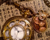 Steam punk White Rabbit costume pocketwatch with charms from Alice in Wonderland ////
