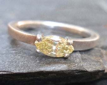 Marquise Diamond Ring - Yellow Marquise Diamond, Marquise Engagement Ring, Natural Yellow, Champagne, Horizontal. Sideways, East to West