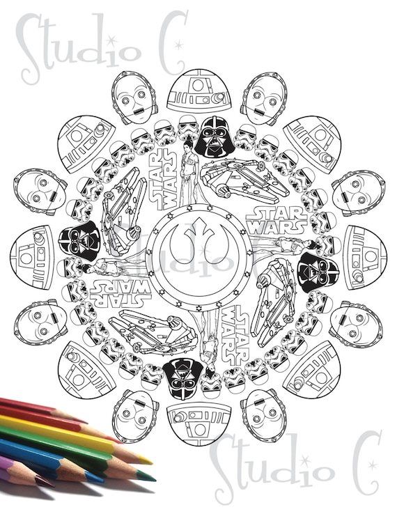 items similar to star wars mandala color page on etsy. Black Bedroom Furniture Sets. Home Design Ideas