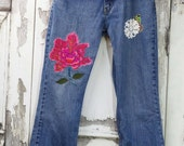Levis Hippy Jeans Appliqued Jeans Upcycled Clothing Upcycled Jeans Wearable Art