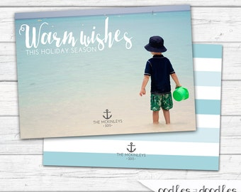 Nautical Christmas Card, Personalized Photo Holiday Card, Warm Wishes, Beach Christmas Card, Nautical Holiday Card, Printable, Anchor