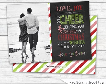 Christmas Card, Chalkboard Holiday Card, Photo Christmas Card, Holiday Photo Card, Printable Digital File or Printed