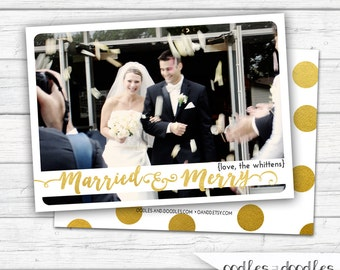 Newlywed Christmas Card, Married Christmas Card, Married and Merry, Christmas Photo Card, Gold Confetti, Printable Digital File or Printed