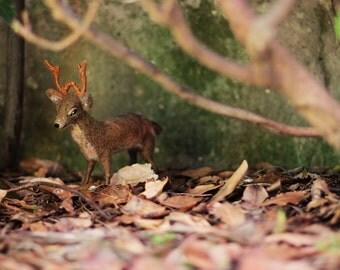 Poseable Needle Felted Deer Sculpture, Needle Felted Animal, Felt Deer Figurine, Deer Soft Sculpture, Woodland, Art Doll, Felt Animal