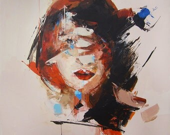 Modern Portrait, Abstract Art, Female Art, Woman Painting, Original Contemporary Art, Stretched Canvas Wall Hanging