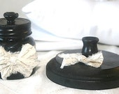 Inkwell and Stand in Black with Muslin Bows