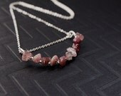 """Pink tourmaline bar necklace, Sterling Silver Wire wrapped, 17"""" long chain included"""