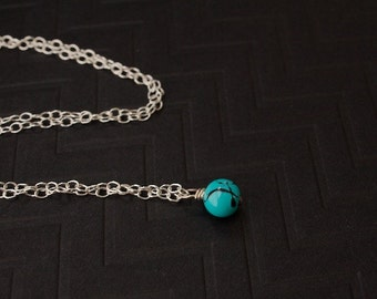 Single drop Pendant, Turquoise necklace, wire wrapped sterling silver chain