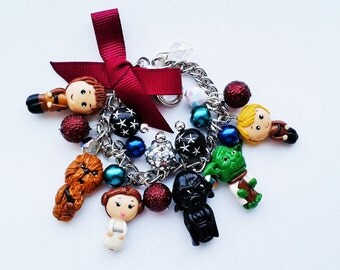 Star wars inspired  charm bracelet (Darth Vader, Yoda, Chewbacca, princess Leia. Han Solo, X Wing Luke