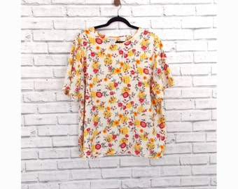 Kathie Lee Vintage Floral Top | Ladies Summer Blouse | Size Large Blouse