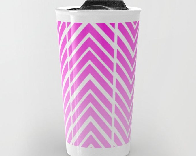 Ceramic Travel Mug -  Pink and White Coffee Travel Mug - Arrow Art - Hot or Cold Travel Mug - 12oz Travel Mug -Made to Order