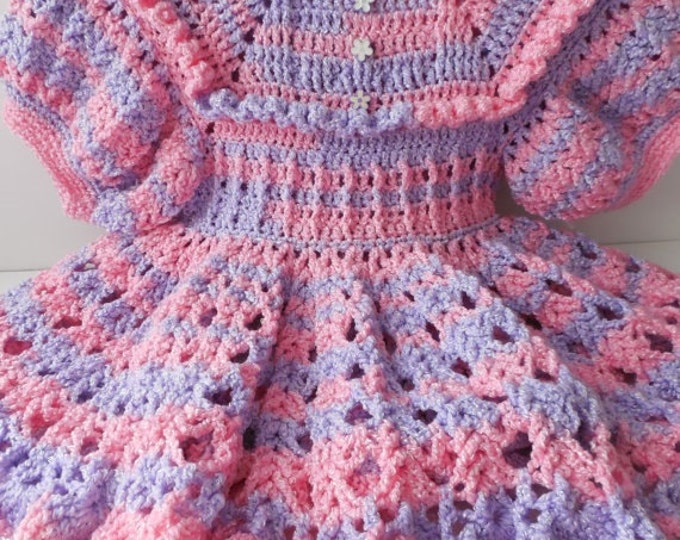 Pink Dress - 24 Months - Pink and Purple  - Handmade Crochet - Party Dress - Reduced - Clearance - Ready to Ship