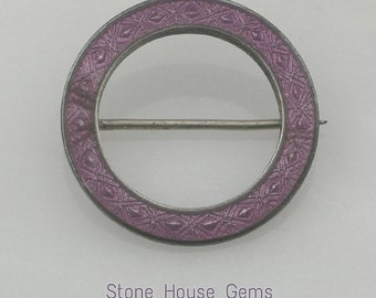 Art Nouveau purple guilloche enamel circle brooch