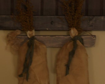 Primitive Grungy Hanging Ditty Bags with Drieds