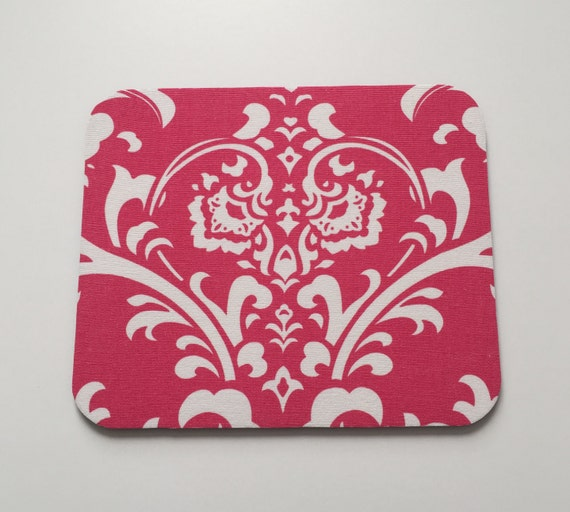 Mouse Pad in Hot Pink & White Damask Teacher Gift, Coworker Gift, Desk Accessories, Dorm Decor, Mouse Pads, Mousepad, Mouse Mat