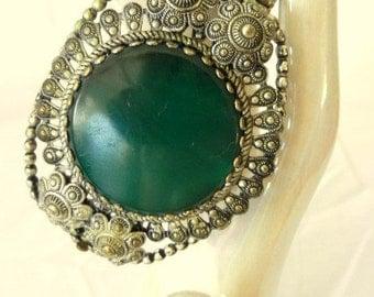 Bracelet Green Stone Marked Tchecoslovaquie