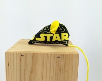 Star Wars cat toy, Rebel Alliance cat toy, Star Wars organic catnip cat toy, black yellow, sci-fi cat toy