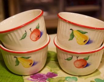 "4 vintage Harker fruit pattern 3.5"" diameter custard or snack cups in very good condition"