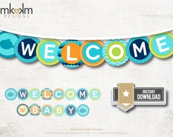 Welcome Baby Banner, Under the Sea Baby Shower Circle Banner, Aqua Nautical Baby Shower, Beach Party Decor, INSTANT DOWNLOAD, #N2