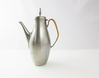 A Pewter Coffee Carafe With Woven Handle - 1930-50s Danish Modern Sophistication - Tall, Elegant Design For Serving - Beverage Server