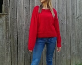 Vintage red knitted sweater Handknitted red cardigan Ladies red sweater Knit jumper Red knit pullover