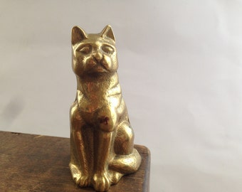 Vintage brass cat figurine Small brass figurine Vintage brass animal Cat statue