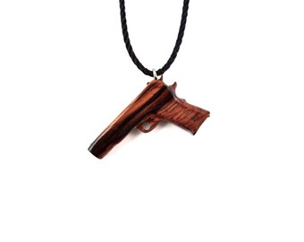 Gun Necklace, Gun Pendant, Mens Pistol Pendant Necklace, Wooden Pistol Pendant, Mens Gun Necklace, Gun Jewelry, Pistol Jewelry, Mens Jewelry