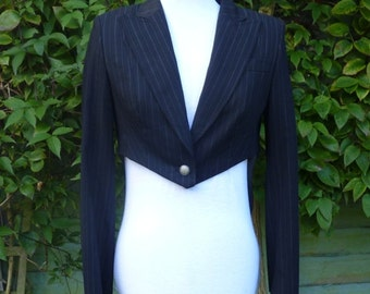 upcycled Tail  coat black pinstripe jacket UK size 12, US 10