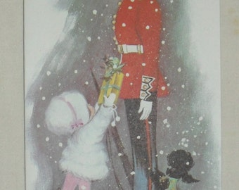 1970s Vintage Christmas Card Beefeater Guard Little Girl A Present from Alice by Reni