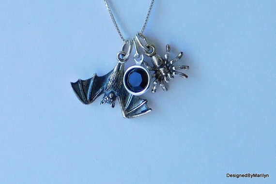 Sterling silver bat necklace, Vampire jewelry, Gothic jewelry, spider necklace, Halloween jewelry